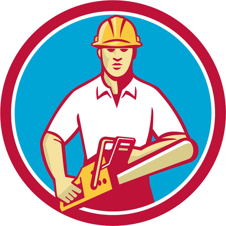 chainsaw: Illustration of a tree surgeon arborist gardener tradesman worker wearing hard hat  holding chainsaw facing front set inside circle done in retro style on isolated background.