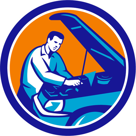 tradesman: Illustration of an auto mechanic repairing automobile car vehicle set inside circle done in retro style.
