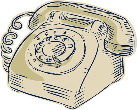 phone isolated: Etching engraving handmade style illustration of a vintage telephone viewed from the front set on isolated white background.