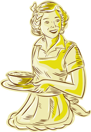 homemaker: Etching engraving handmade style illustration of a vintage homemaker housewife wearing apron serving bowl of food viewed from front set on isolated white background.