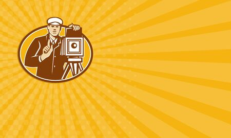 worker person: Business card showing illustration of a photographer shooting with vintage camera viewed from front done in retro woodcut style.