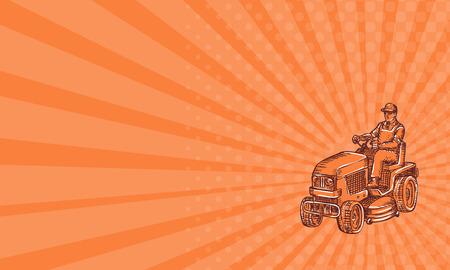 Adreskaartje die ets gravure handmade stijl illustratie van een tuinman rijden zitmaaier maaien ingesteld op geïsoleerde witte achtergrond. Stockfoto - 42148095