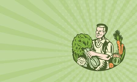 légumes verts: Carte d'affaires montrant illustration d'un agriculteur épicier vert bio avec des légumes verts récolte agricole en cultures de verdure fait dans le style de gravure sur bois rétro.
