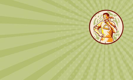 paysagiste: carte d'affaires montrant illustration de mâle jardinier paysagiste horticulteur tenant spade sur l'épaule avec la main sur les hanches qui cherchent à mettre le côté intérieur du cercle fait dans le style de bande dessinée.
