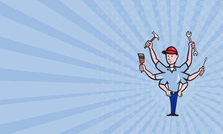 tradesman: Business card showing illustration of a mechanic with six arms a hammer, paint brush,,screwdriver and spanner wrench done in cartoon style on isolated white background.