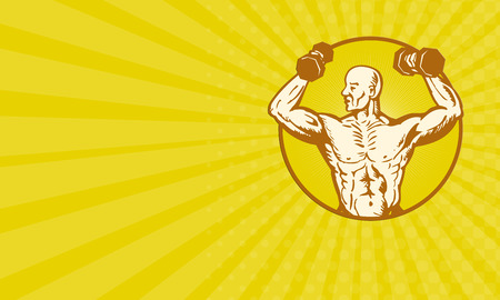 body builder: Business card showing illustration of male human anatomy body builder flexing muscle on isolated background woodcut style set inside circle