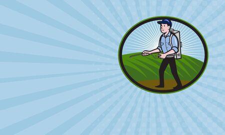fertilizer: Business card showing illustration of a worker with fertilizer sprayer pump  spraying set inside oval done in cartoon style.