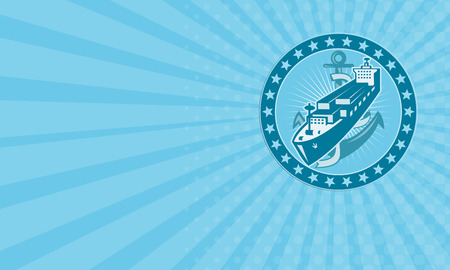 bulk carrier: Business card showing illustration of a cargo container freight ship  with anchor set inside circle with stars all around done in retro style.