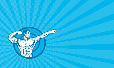 flexing: Business card showing llustration of a bodybuilder training exercise flexing muscle pointing viewed from the side set inside circle done in retro style.