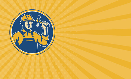 laborer: Business card showing illustration of a construction worker tradesman laborer weilding a hammer set inside circle done in retro style. Stock Photo