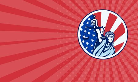 gerechtigkeit: Visitenkarte, die Abbildung der Dame mit verbundenen Augen Halte Waage der Gerechtigkeit mit amerikanischen Stars and Stripes Flagge im Kreis im Retro-Stil getan.
