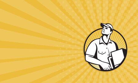 carretilla de mano: Tarjeta de negocios que muestra la ilustración de un trabajador hombre de entrega empujando carro carretilla cargada de cartón frente al frente fijó el círculo interior hecho en estilo retro.