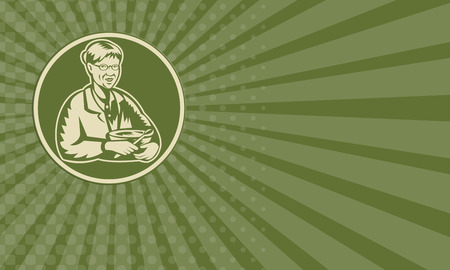 mature woman: Business card showing illustration of an old senior mature woman granny grandmother cooking with mixing bowl facing front done in retro woodcut style set inside circle.