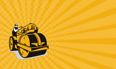 heavy equipment operator: Business card showing illustration of vintage road roller viewed from the front on low angle done in retro style. Stock Photo