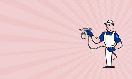 hombre pintando: Tarjeta de negocios que muestra la ilustración del pintor de spray con pistola de pintura en aerosol hecho en estilo de dibujos animados sobre fondo blanco aislado.