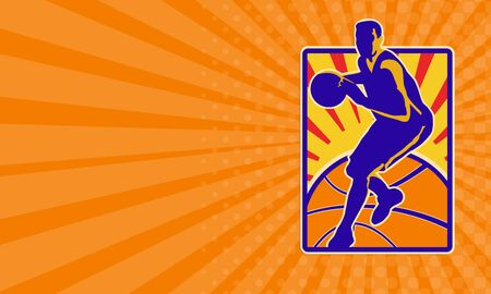 dribbling: Business card showing illustration of a basketball player dribbling ball set inside rectangle with sunburst on isolated white background. Stock Photo