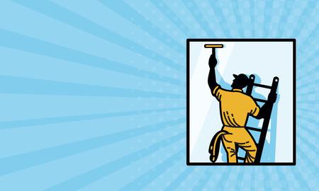 ビジネス カードは、レトロなスタイルで行われる広場内背面から見たスキージで梯子の上洗浄ウィンドウ クリーナー ワーカーの図を示します。
