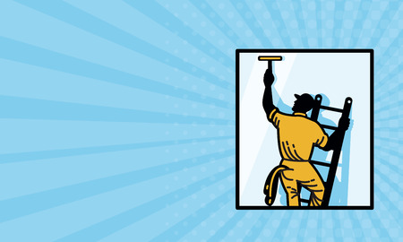 Business card showing illustration of a window cleaner worker cleaning on ladder with squeegee viewed from rear set inside square done in retro style. Stock Photo