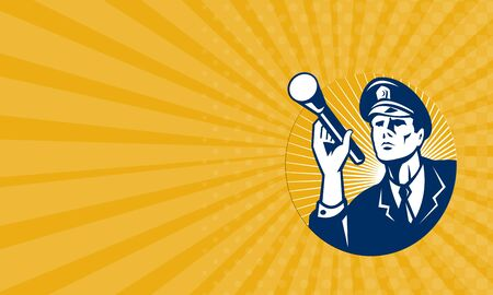 tradesman: Business card showing illustration of a police officer policeman security guard holding a flashlight torch set inside circle done in retro style.
