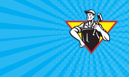 obrero: Tarjeta de negocios que muestra la ilustraci�n de un herrero trabajador obrero llevar martillo mano en la cadera se ve desde delante conjunto dentro del tri�ngulo hecho en estilo retro.