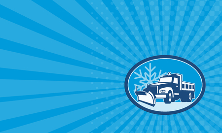 plow: Business card showing illustration of a snow plow truck plowing with winter snow flakes in background set inside circle done in retro style.