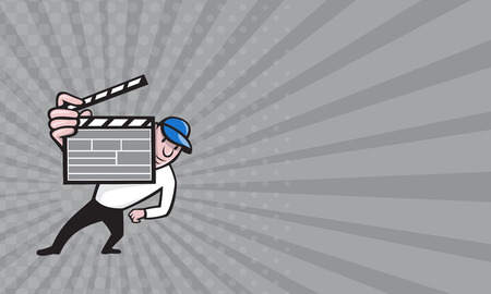 film director: Business card showing cartoon illustration of a movie film director holding up a clapboard viewed from front on isolated white background.