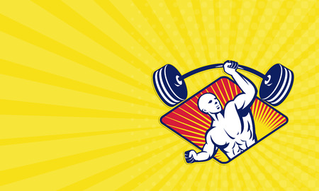 lifter: Business card showing illustration of a male weight lifter body builder lifting barbell weights  set inside diamond shape done in retro style. Stock Photo