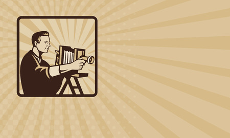 bellow: Business card showing illustration of a photographer shooting a vintage bellow camera viewed from side done in retro style set inside square.