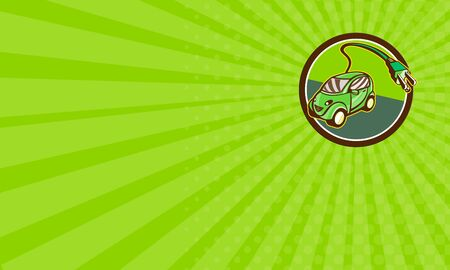electric vehicle: Business card showing illustration of a plug-in hybrid electric vehicle with electric plug coming out set inside circle done in retro style.