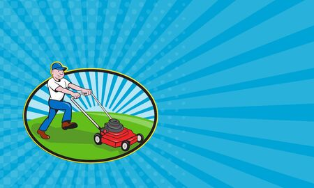 lawnmower: Business card showing illustration of a lawnmower man with lawnmower lawnmowing done in cartoon style set inside oval shape with sunburst in the background. Stock Photo