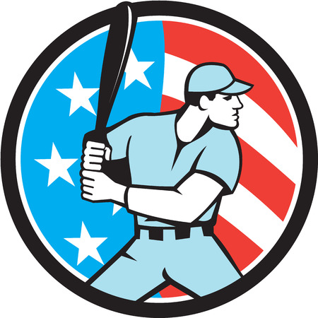 batter: Illustration of a american baseball player batter hitter