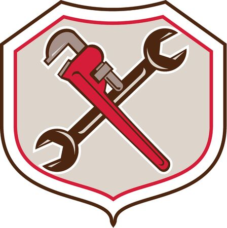 pipe wrench: Cartoon style illustration of a pipe adjustable monkey wrench crossed with spanner Illustration