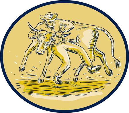 wrestler: Etching engraving handmade style illustration of rodeo cowboy steer wrestling bull