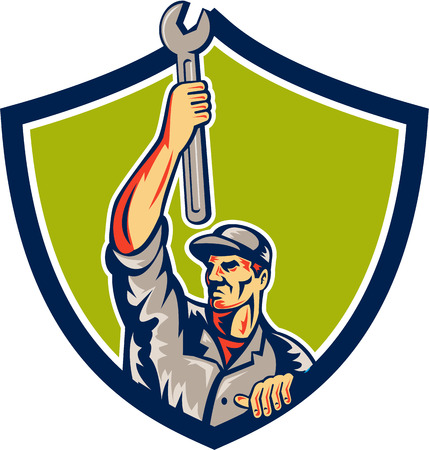 Illustration of a mechanic lifting spanner wrench