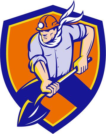 coal miner: Illustration of a coal miner holding shovel digging