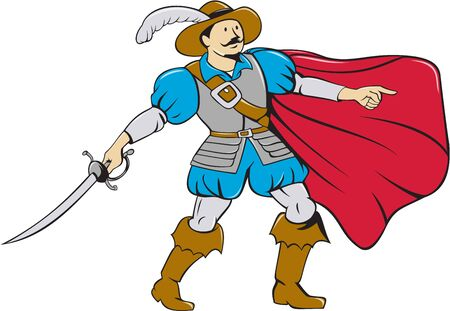 musketeer: Cartoon style illustration of a musketeer