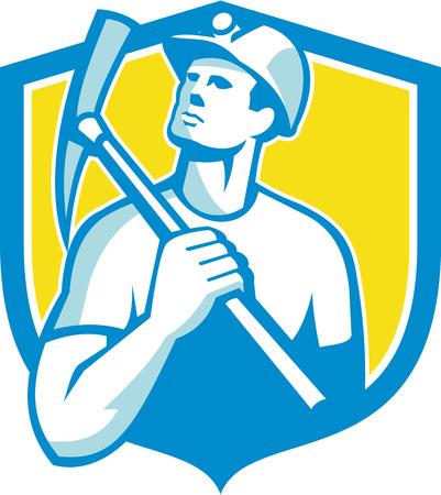 miner: Illustration of a coal miner holding pick axe on shoulder