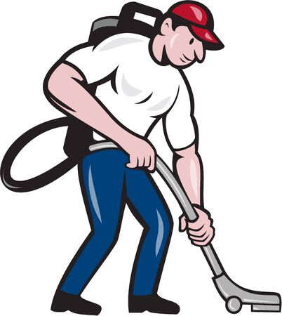vacuum cleaning: Illustration of a male janitor with vacuum cleaning Illustration