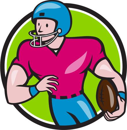 footballer: Illustration of an american footballer