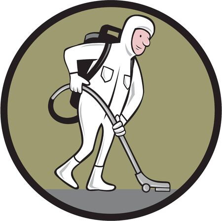 laborer: Cartoon style illustration of an industrial cleaner