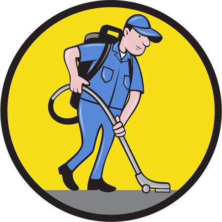 janitor: Illustration of a male janitor worker with vacuum cleaning Illustration