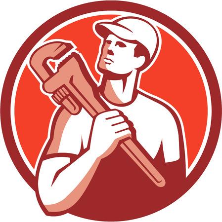 Illustration of a tradesman plumber