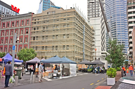producers: JUN. 20-AUCKLAND: The City FarmersÕ Market where local growers, farmers and artisan food producers sell their wares directly to consumers in Britomart, Auckland, New Zealand taken on June 20, 2015.