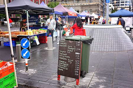 wares: JUN. 20-AUCKLAND: The City FarmersÕ Market where local growers, farmers and artisan food producers sell their wares directly to consumers in Britomart, Auckland, New Zealand taken on June 20, 2015.