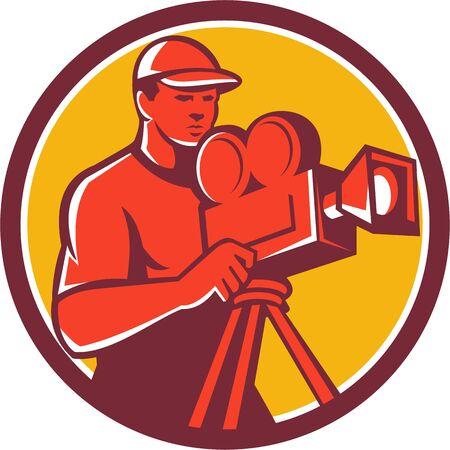movie director: Illustration of a cameraman movie director Illustration