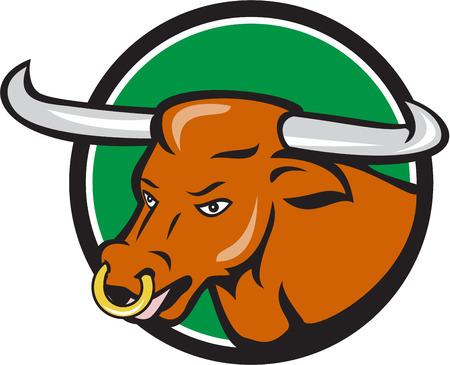 vaca: Ilustración de una cabeza de toro de cuernos largos texas Vectores