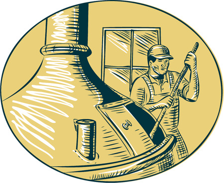 oval  alcohol: Illustration of a brewer