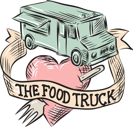 pierced: illustration of a food truck with heart pierced shape