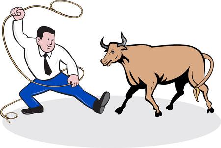lasso: Illustration of a businessman holding a lasso