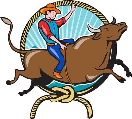 bull cartoon: Illustration of rodeo cowboy riding bucking bull
